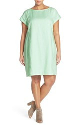 Plus Size Women's Eileen Fisher Bateau Neck Organic Linen Shift Dress Green Mint