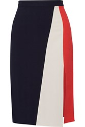 Tanya Taylor Gigi Color Block Herringbone Stretch Crepe Skirt Midnight Blue