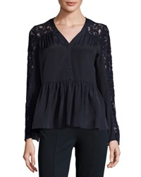 Nanette Nanette Lepore Lace Trim Long Sleeve Peplum Top Dark Navy