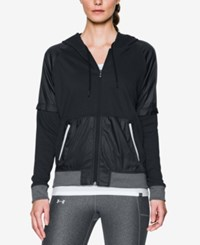 Under Armour French Terry Colorblocked Fleece Zip Hoodie Black Black