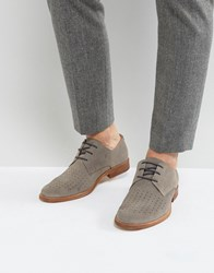 Zign Suede Perforated Detail Lace Up Shoes Grey