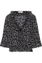Bailey 44 Woman Extracurricular Ruffle Trimmed Floral Print Georgette Blouse Midnight Blue