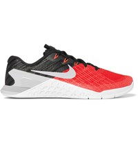 Nike Training Metcon 3 Textured Mesh And Rubber Sneakers Red