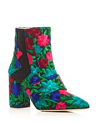 Jerome C. Rousseau Shaw Floral Embroidered Block Heel Booties Black Multi