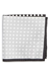 Eton Men's Dot Silk Pocket Square Black