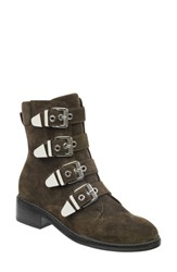 Marc Fisher Ltd Buckle Boot Dark Green Suede