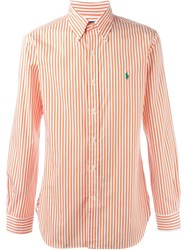 Polo Ralph Lauren Striped Logo Shirt Yellow And Orange