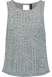 W118 By Walter Baker Oliva Embellished Chiffon Top Gray