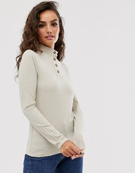 Y.A.S Button Detail Long Sleeve Top Beige