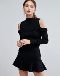 Coast Natalie Frill Knit Top Black