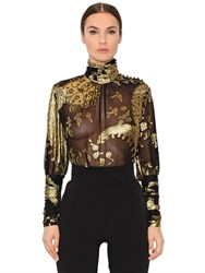 Emanuel Ungaro High Collar Silk Jacquard Fil Coupe Top
