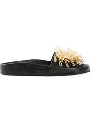Fausto Puglisi Embellished Slide Sandals Black
