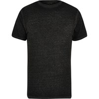 River Island Mens Dark Grey Burnout Slim Fit T Shirt