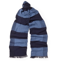Oliver Spencer Mexico Checked Scarf Blue