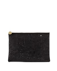 Neiman Marcus Oversized Crystal Faux Suede Evening Clutch Bag Black