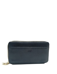 Tusk Madison Saffiano Leather Double Zip Clutch Navy