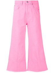 Msgm Cropped Flare Jeans Cotton Pink Purple