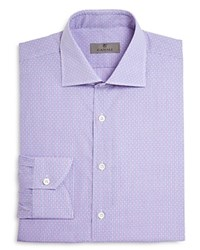 Canali Check With Diamond Dobby Texture Regular Fit Dress Shirt Berry