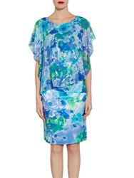 Gina Bacconi Printed Chiffon And Satin Dress Blue Green