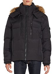 S 13 Nyc Faux Fur Trimmed Quilted Parka Jacket Black