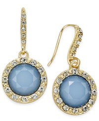 Inc International Concepts Gold Tone Pave And Blue Stone Drop Earrings Only At Macy's