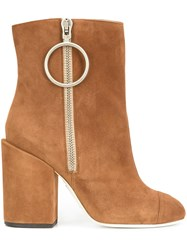 Off White Zipped Ankle Boots Brown