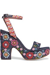 Tabitha Simmons Calla Festival Embroidered Denim Sandals Dark Denim