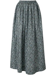 Matteau Floral Gathered Skirt Blue