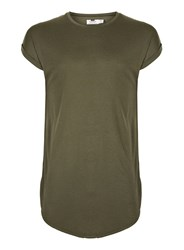 Topman Green Khaki Drop Shoulder Longline Tank Vest