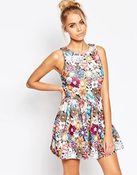 Jaded London Colored Brooch Skater Dress Multi