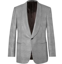 Kingsman Black Prince Of Wales Checked Wool And Silk Blend Tuxedo Jacket Black