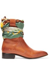 Maison Martin Margiela Satin Twill Trimmed Burnished Leather Ankle Boots Tan