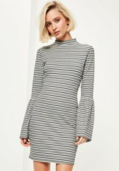 Missguided Grey Striped High Neck Flared Sleeve Bodycon Dress
