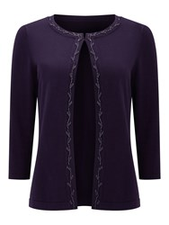 Eastex Beaded Detail Cardigan Purple