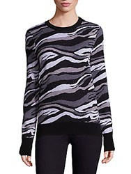 Equipment Ondine Zebra Crewneck Merino Wool Sweater Black Multicolor
