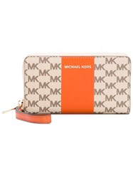 Michael Michael Kors Monogram Zip Around Purse Women Leather One Size Nude Neutrals