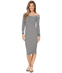 Hard Tail Off Shoulder Dress Black White Supplex Stripe Women's Dress