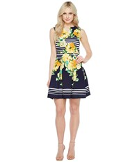 Christin Michaels Florence Sleeveless Fit And Flare Dress Navy Yellow Women's Dress