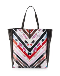 Cynthia Rowley Kai Chevron Print Leather Tote Bag Black Multicolor