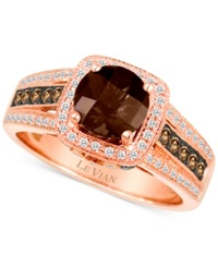 Le Vian Chocolate Quartz 1 Ct. T.W. And Diamond 3 8 Ct. T.W. Ring In 14K Rose Gold