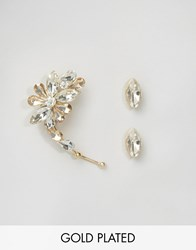 Johnny Loves Rosie Demi Crystal Ear Cuff And Stud Set Gold