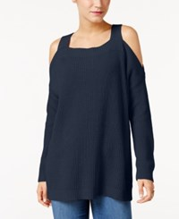 Styleandco. Style Co. Ribbed Cold Shoulder Sweater Only At Macy's Industrial Blue