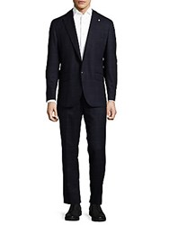 Lubiam Box Striped Wool Suit Navy
