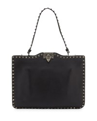 Valentino Rockstud Flat Leather Satchel Bag Black