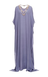 Badgley Mischka Slate Embellished Illusion Neck Caftan Blue