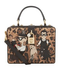 Dolce And Gabbana Family Top Handle Leopard Dauphine Tote Female Brown