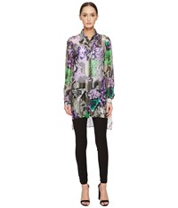 Versace Sheer Collared Printed Long Sleeve Blouse Lavendar Stampa Women's Blouse Multi