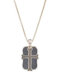 Stephen Webster Men's London Calling Hematite Cross Double Dog Tag Necklace Silver