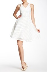 Gracia Sleeveless Mesh And Stripe Flared Dress White