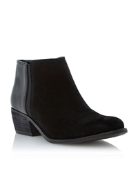 Penelope Leather Low Ankle Boots Black Suede